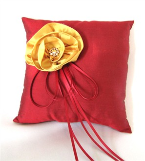 Red Silk Dupioni Ring Bearer Pillow with Flower and Brooch