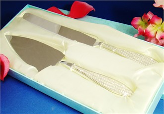 Rhinestone Handle Wedding Cake Knife and Server Set