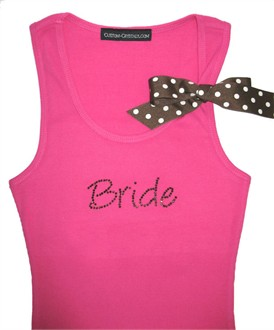 Custom Rhinestone Bridesmaid Tank Top with Polka Dot Ribbon Tie