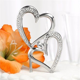 Rhinestone Double Heart Cake Topper