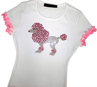 Rhinestone Poodle Shirt for Girls