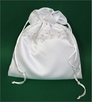 Satin Bridal Money Bag with Sequins and Beaded Lace