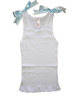 Satin Ribbon Tie Tank in White, Pink, or Blue