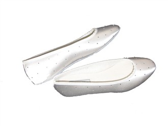 Dyeable Satin Ballet Slippers with Crystals - Crystal Bridal Ballet Slippers