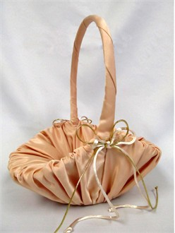 Champagne Satin Flower Girl Basket
