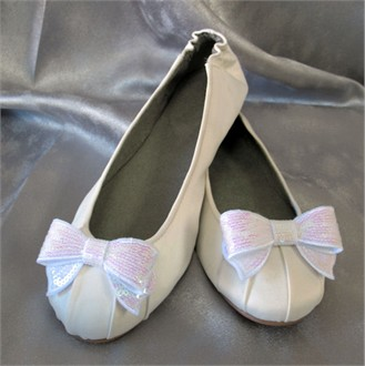 Custom Dessy Bridal Ballet Shoes with Sequin Bow -12 Colors!