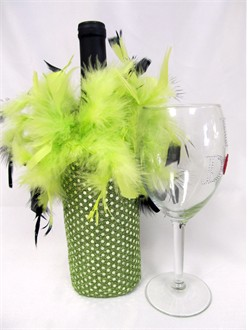 Sequin Lime and Black Wine Bottle Cover