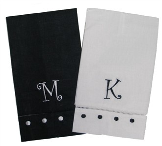 Set of 2 Embroidered Linen Guest Towels