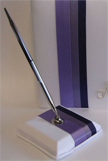 Shades of Purple Wedding Guest Pen in Gold or Silver