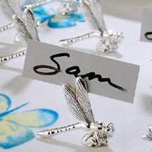 Silver Dragonfly Place Card Holders