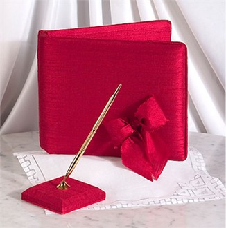 Silk Dupioni Red Guest Book and Pen Set