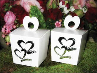 Silver Foil Double Heart Favor Boxes