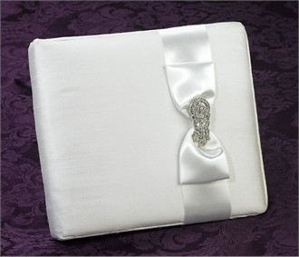 Silk Guest Book with European Crystal Brooch