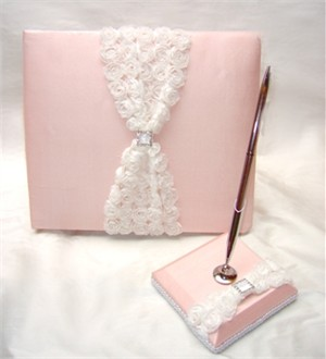 Silk Rosebud Collection Pink Guest Pen and Holder