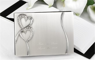 Sparkling Love Silver Rhinestone Hearts Guest Book