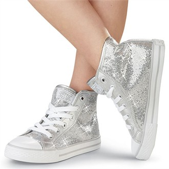 Ladies Silver Sequin High Top Sneakers