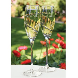 Wedding Toasting Glasses - Pair of Silver Swirl Flutes