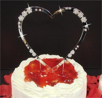 Single Crystal Embellished Cake Jewelry Heart - Heart Cake Topper