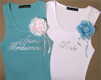 Script Rhinestone Bridal Party Tank with Corsage Flower