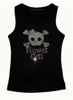 Rhinestone Flower Girl Tank with Skull and Cross Bones