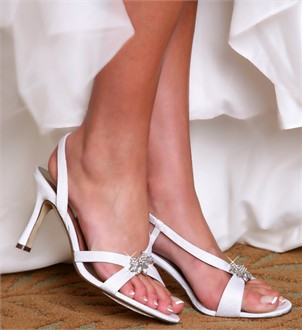 Dazzling Crystal Embellished Sling Back Wedding Shoes