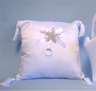 Snowflake Ring Bearer Pillow for Winter Weddings
