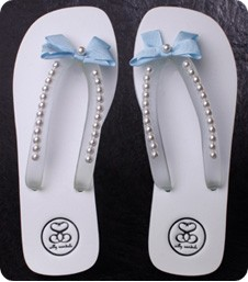 Something Blue Pearl Wedding Flip Flops