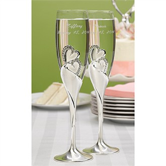 Pair of Sparkling Love Flutes