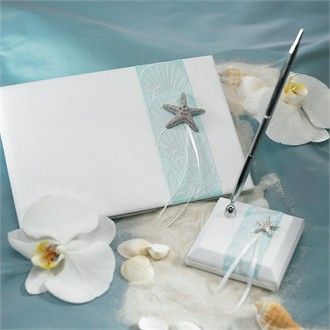Starfish Beach Wedding Guest Pen and Stand