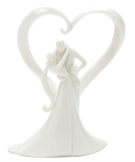 Stylish Embrace Porcelain Wedding Cake Topper