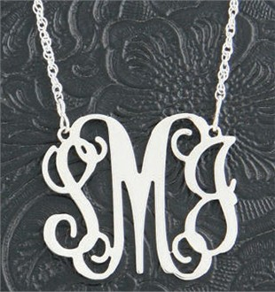 Monogram Sterling Silver Engraved Initial Or Word Pendant Necklace