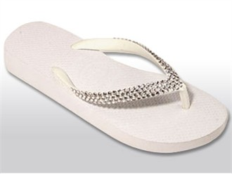 Custom Crystal Flip Flops  in White/Clear with 1 1/4 Inch Heel