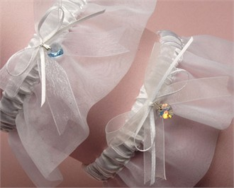 Crystal Heart Organza Wedding Garter - Bridal Garter