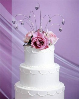 Swarovski Crystal Heart Sprays Silver Wedding Cake Topper