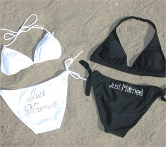 In Stock Black or White Just Married Rhinestone Bikini Bathing Suit in Clear Rhinestones