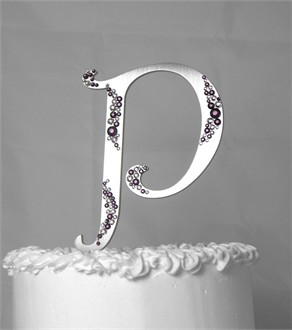 Crystal Cake Letter with Lilac and Amethyst Letter P