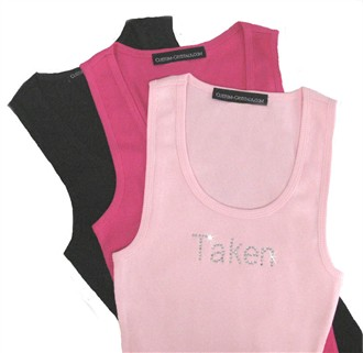 Taken, Available, Married Tank or T-Shirt with Colored Crystals