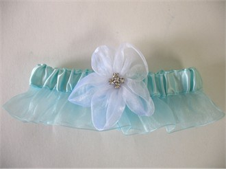 Tiffany Blue Garter with White Organza Flower