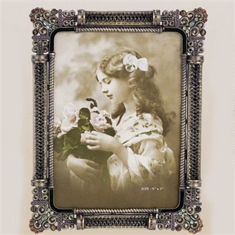 Tizo Design Enameled and Jeweled Photo Frame 5 x 7 Inches