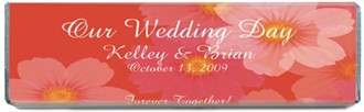 Coral-Colored Personalized Wedding Hershey's Chocolate Bar Favors