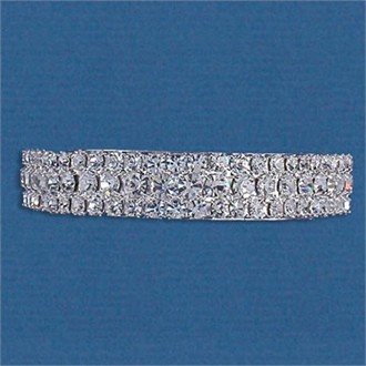 Hair Barrette: Triple Row Crystal Pony Tail Holder