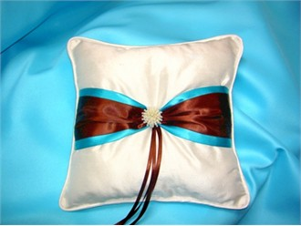 Turquoise and Chocolate Ring Pillow - Other Colors Available