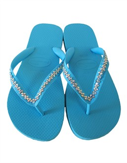 Turquoise Havaianas with AB Iridescent Vine Design