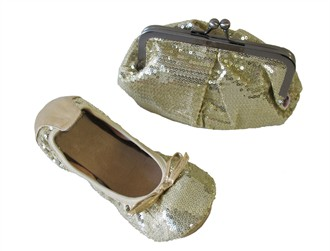 Twinkle Lady Gold Sequin Ballet Slippers and Clutch for Women