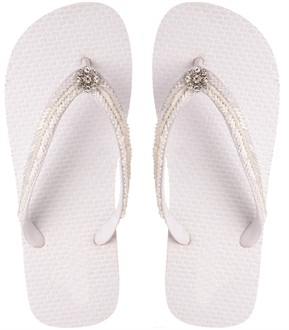 White Bridal Flip Flops with Crystal Flower