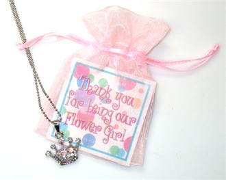 Thank You For Being Our Flower Girl Polka Dot Card and Tiara Necklace Set