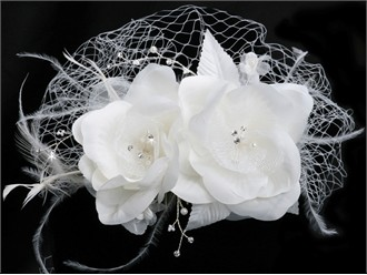 En Vogue Bridal Birdcage Veil with Flower Comb VF102