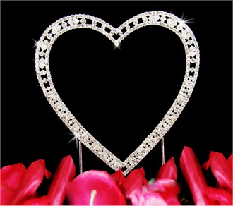 Small Vintage Heirloom Single Heart Crystal Cake Topper