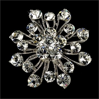 Elegant Vintage Crystal Bridal Pin for Hair or Gown Brooch 10