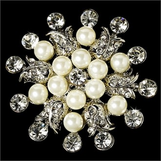 Elegant Vintage Crystal Bridal Pin for Hair or Gown Brooch 30